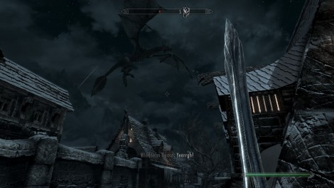 Dragon attacking Windhelm