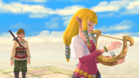 Zelda playing harp
