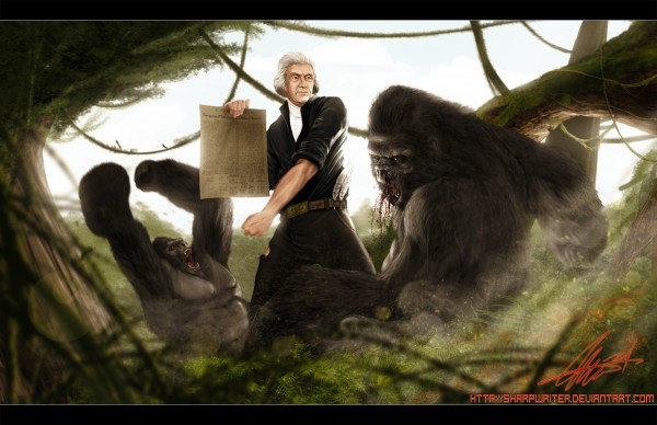 Just to be clear: Thomas Jefferson only fought British mercenary gorillas who tried to keep him from writing the 1st Amendment.