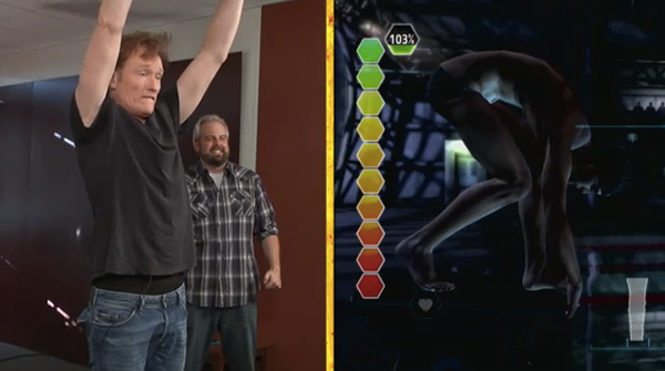 Hey! Watch! Conan is a Clueless Gamer but can still Review Michael Phelps: Push the Limit