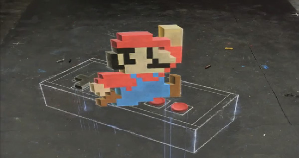 Hey! Watch! 3D 8-Bit Time Lapse Mario Chalk Art